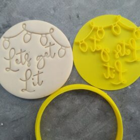 'Lets Get Lit' Cookie Fondant Embosser Stamp & Cutter Christmas Lights Xmas