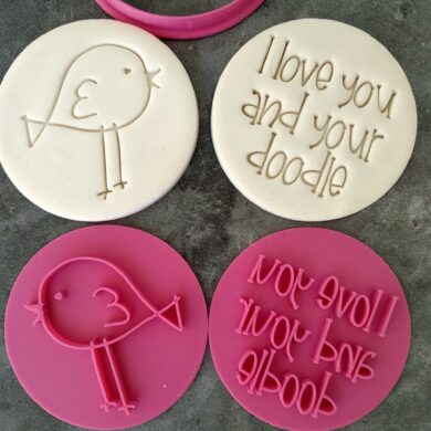 I love you and your doodle Embosser Imprint Stamp and Cookie Cutter Set Valentines Day