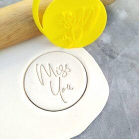 Miss You Cookie Fondant Embosser Imprint Stamp & Cutter