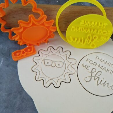 Thanks for making me Shine / Teachers Gift Fondant Embosser Stamp and Sun Cookie Cutter and Stamp