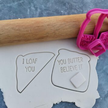 I Loaf You - Bread / Fairy Bread Cookie Cutter and Fondant Embosser imprint Stamp (5 Piece Set)