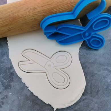 Scissors Cookie Fondant Embosser Imprint Stamp and Cookie Cutter Set