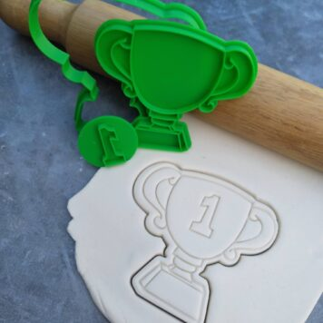 Trophy Cookie Fondant Embosser Imprint Stamp and Cookie Cutter Set