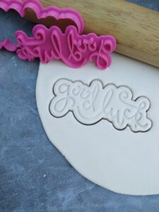 Good Luck Text Plaque Fondant Embosser Imprint Stamp and Cookie Cutter