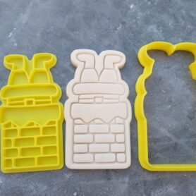 Santa going down a Chimney Embosser Imprint Stamp and Cookie Cutter Christmas Xmas