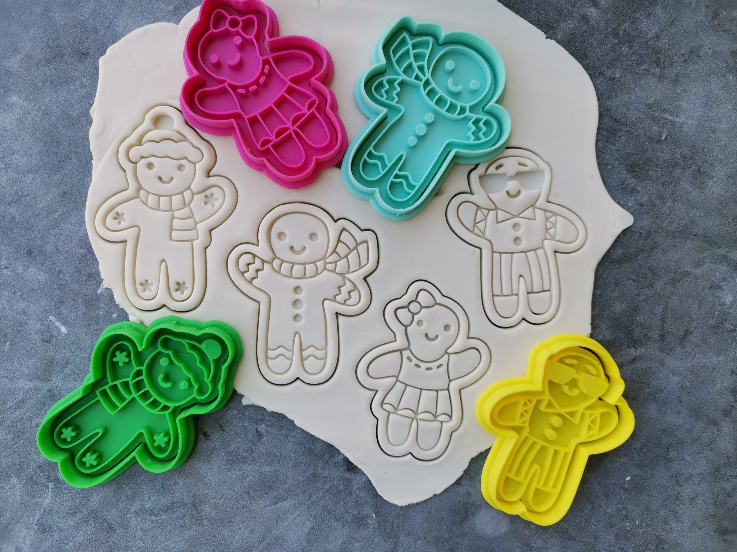 Gingerbread People Embosser Imprint Stamp and Cookie Cutter Christmas Xmas Gingerbread Man Gingerbread Woman