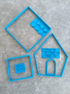 Sugar Cookie / Ginger Bread House Cookie Cutter and Embosser 7 Piece Kit