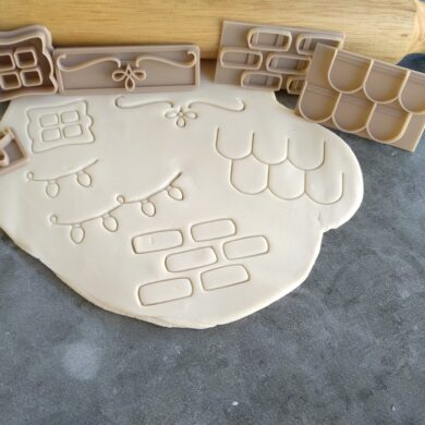 Sugar Cookie / Gingerbread House Acrylic Template and Embosser 9 Piece Kit