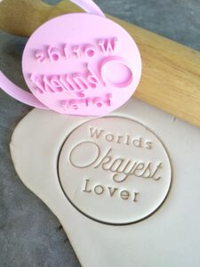 Worlds Okayest Series Multi Choice Selection Cookie Fondant Embosser Imprint Stamp and Cutter