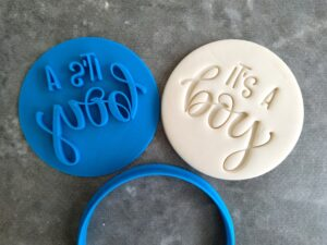 It's a Boy Cookie Fondant Embosser Stamp and Cutter Baby Shower