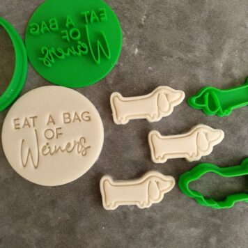 Eat a Bag of Weiners Cookie Fondant Embosser Imprint Stamp and Cookie Cutter