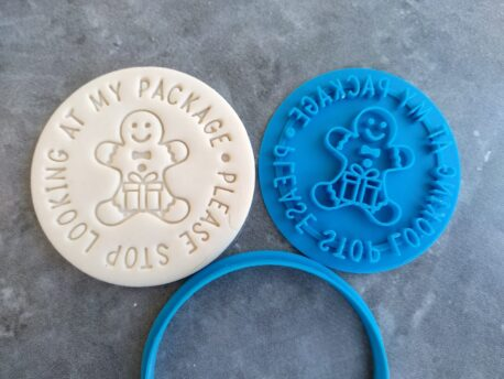 Please Stop looking at my Package - Gingerbread with Present - Fondant Embosser Stamp and Cutter Christmas Pun Joke Cookie Cutter