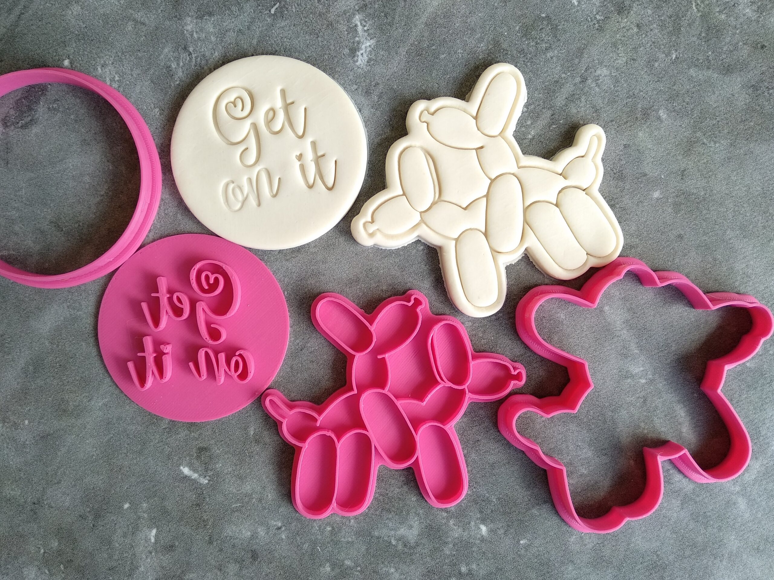 Adult Balloon Dogs Stamp and Cutter Set - Get On It - Valentines Day Cookie Fondant Embosser