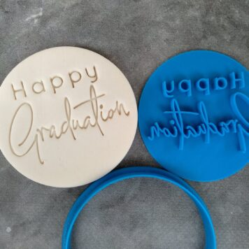 Happy Graduation Cookie Fondant Embosser Imprint Stamp and Cutter