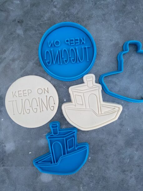 Keep on Tugging Valentines Day theme Tugboat Cookie Cutter and Cookie Embosser Set