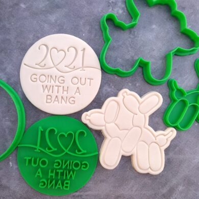 2021 Going out with a Bang Text Embosser with Adult Balloon Dogs Cookie Stamp and Cutter Set - Happy New Year 2021 Cookie Embosser