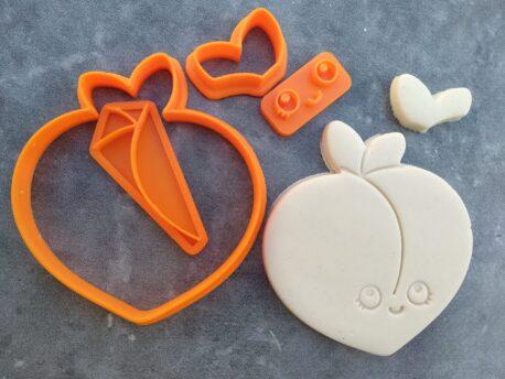 Eggplant and Peach Cookie Cutter and Fondant Embosser Stamp 8 piece Set Emoji Kawaii