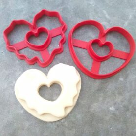 Heart Shaped Doughnut Cookie Fondant Cutter Embosser Stamp and Cookie Cutter Donut