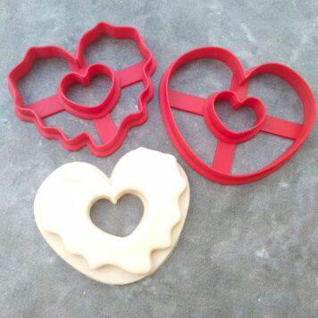 Heart Shaped Doughnut Cookie Fondant Cutter Embosser Stamp and Cookie Cutter Donut
