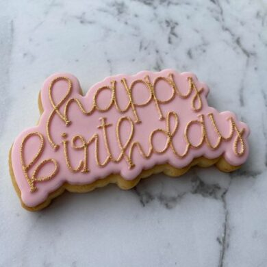 Happy Birthday Text Cookie Cutter and Fondant Raised Text Embosser