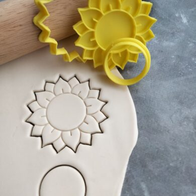 Sunflower Cookie Cutter and Fondant Embosser Stamp Set