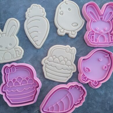Easter Set, Bunny, Basket with Eggs, Chick, Carrot Cookie Fondant Embosser Imprint Stamp and Cookie Cutters PYO Easter Cookies