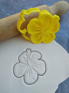 Hibiscus Flower Cookie Cutter and Fondant Imprint Embosser Stamp