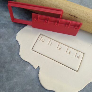 Ruler Cookie Cutter and Fondant Embosser Imprint Stamp - Rectangle 10cm x 4cm