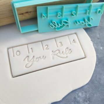 """Ruler with text """"You Rule"""" Cookie Cutter and Fondant Embosser Imprint Stamp - Rectangle 10cm x 4cm"""