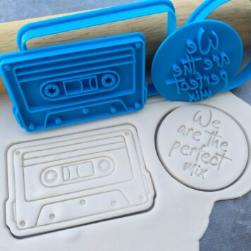 """Cassette Tape Cookie Cutter and Fondant Imprint Stamp Embosser - Music Retro - Valentines Days - Lovers Cookies - """"We are the perfect mix"""""""