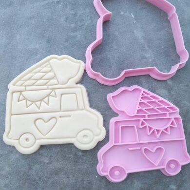 Icecream Van Mr Whippy Soft Serve Icecream Cookie Fondant Embosser Stamp & Cutter