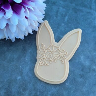 Floral Bunny Cookie Cutter and Fondant Raised Detail Embosser Stamp Debosser Pop Stamp Raised Stamp