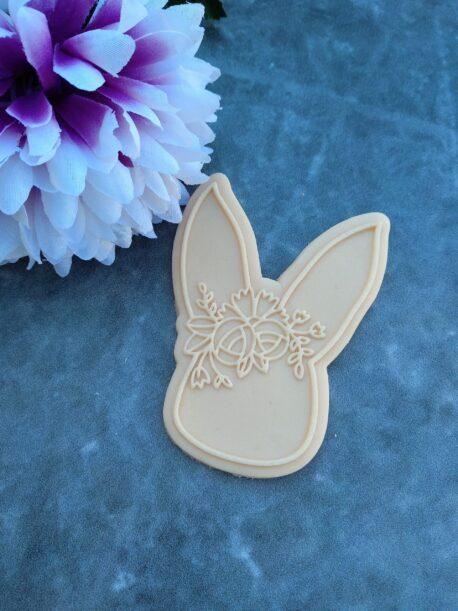 Floral Bunny Cookie Cutter and Fondant Raised Detail Embosser Stamp Debosser Pop Stamp Raised Stamp