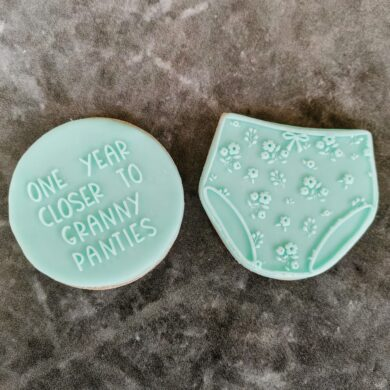 One Year closer to Granny Panties Set Fondant Cookie Stamp with Raised Detail Birthday Joke Fun Cookies Getting Old