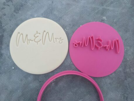 DIY Mr & Mrs (Style 2) Cookie Fondant Embosser Stamp and Cutter