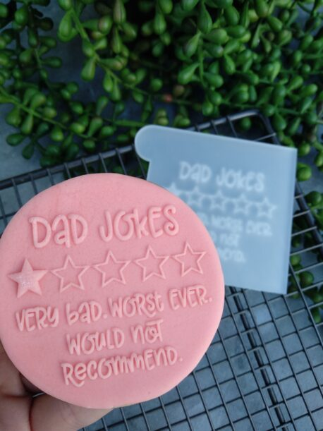 Dad Jokes 1 Star Review Fondant Cookie Stamp with Raised Detail Fathers Day