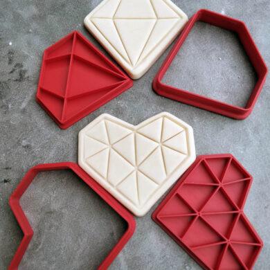 Geo Gems and Heart Cookie Cutter and Fondant Embosser Stamp Set, Geometric Heart, Diamond / Gem