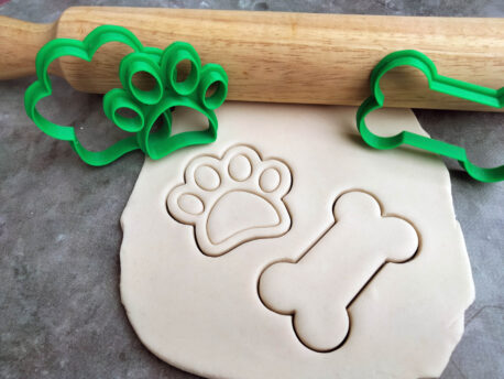 Dog Paw and Dog Bone Cookie Cutter and Fondant Embosser Stamp Set