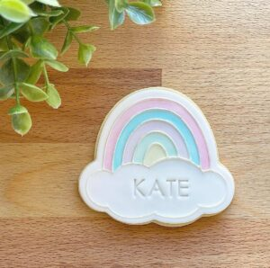 Rainbow Plaque Cookie Cutter and Fondant Raised Detail Embosser Stamp