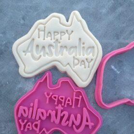 Happy Australia Day with Australian Map Cookie Fondant Embosser Stamp & Cookie Cutter
