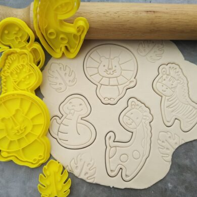 Jungle Safari Fondant Embosser Imprint Stamp & Cookie Cutter Set 5 Piece Zebra Giraffe Lion Snake Monstera Leaf