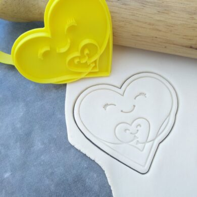Heart Hugging a Heart Cookie Cutter and Fondant Embosser Imprint Stamp - Mothers Day