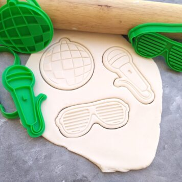 Disco Party Theme Cookie Fondant Embosser Imprint Stamp & Cookie Cutter 3 Piece Set Disco Mirror Ball Microphone Shutter Shades
