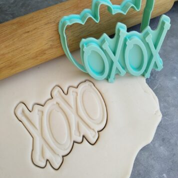 XOXO Text Cookie Cutter and Fondant Embosser Stamp Hugs and Kisses