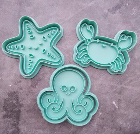 Octopus, Starfish & Crab Cookie Cutter and Fondant Stamp Embosser Set Ocean Creatures Under the Sea