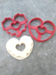 Heart Shaped Doughnut Cookie Fondant Cutter Embosser Stamp and Cookie Cutter