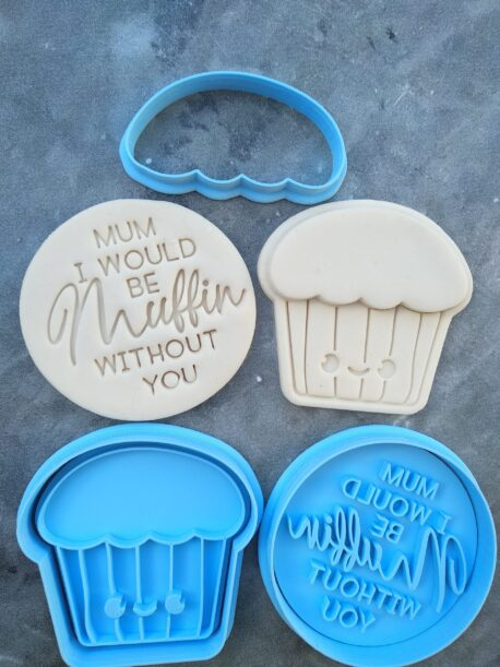 Mum I would be Muffin without you - Cookie Cutter and Fondant Embosser Imprint Stamp Set for Mothers Day - Muffin Cookie Cutter