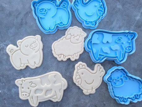 Farm Animals Fondant Embosser Imprint Stamp & Cookie Cutter Set 4 Piece Pig Sheep Cow Chicken
