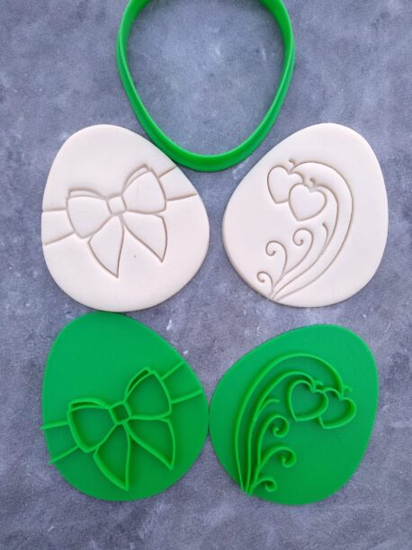 Easter Egg Shape Cookie Cutter and 2 Cookie Embosser Patterns ( Style 2)
