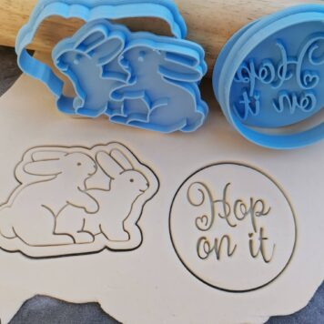 "Adult Bunnies ""Hop on It"" Cookie Cutter and Fondant Embosser Stamp Set - Easter"